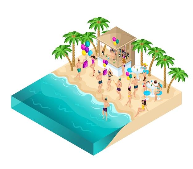 Isométrie dansant sur la plage, fête, fête d'anniversaire,
