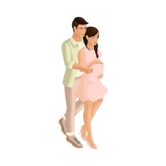 L'isométrie est un couple tendre qui prend soin d'un futur enfant. une fille enceinte dans les bras d'un homme bien-aimé et d'un futur père. un concept publicitaire touchant