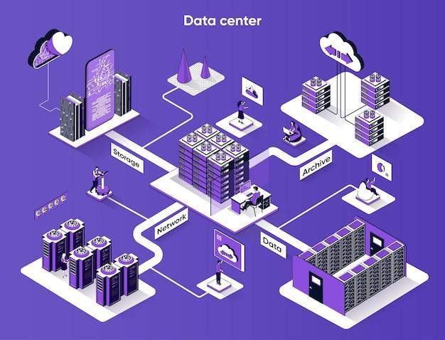 Isométrie plate de bannière web isométrique de centre de données