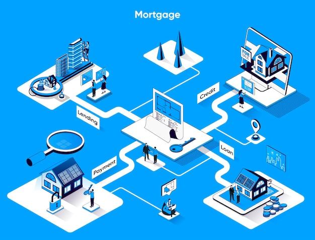 Isométrie plate de bannière web isométrique hypothécaire