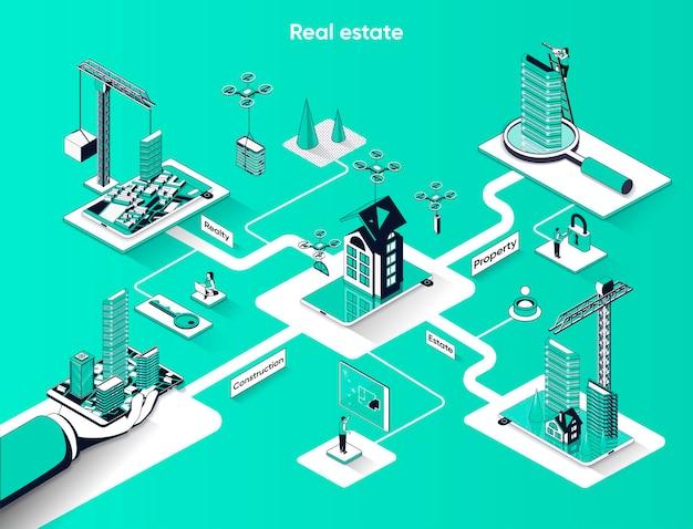 Isométrie plate de bannière web isométrique immobilier