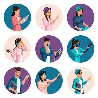 Isométrie qualitative, un ensemble d'avatars d'hommes et de femmes de différents types et personnages, avec des gestes émotionnels, créez votre propre image