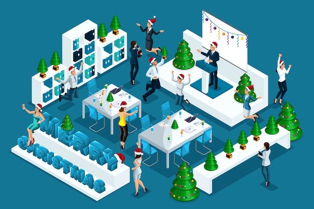 Isométrie de qualité, fêtes de noël, saut d'employés heureux, fête d'entreprise
