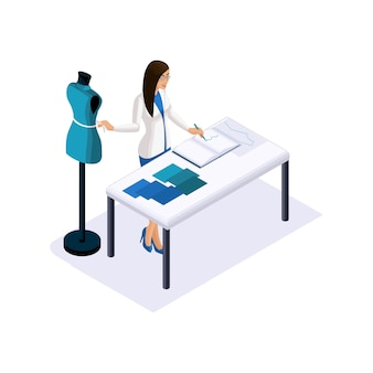 Isométrie d'un tailleur, le créateur prend des mesures, utilise un mannequin pour créer des vêtements haute couture en studio, un atelier. l'entrepreneur travaillant pour lui-même