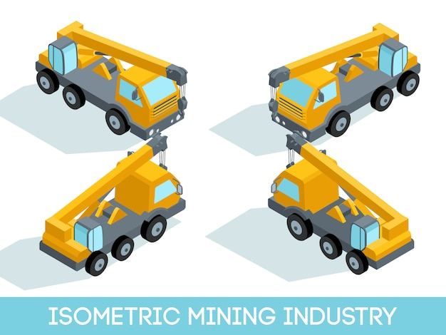 Isométrique 3d industrie minière, équipement minier et véhicules isolés illustration vectorielle