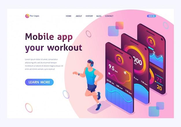 Isométrique l'application mobile suit la formation d'une personne. athlète de formation, un homme en cours d'exécution.