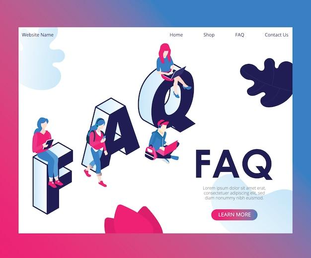 Isométrique artwork concept of faq