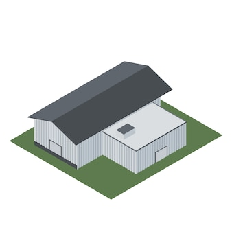 Isométrique d'un bâtiment industriel pour la fabrication de produits