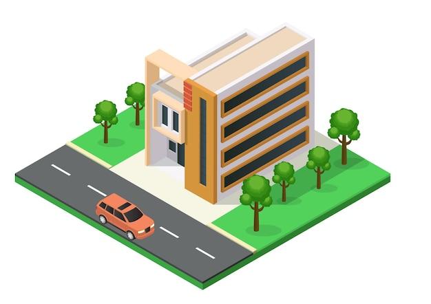 Isométrique belle maison à l'architecture minimaliste