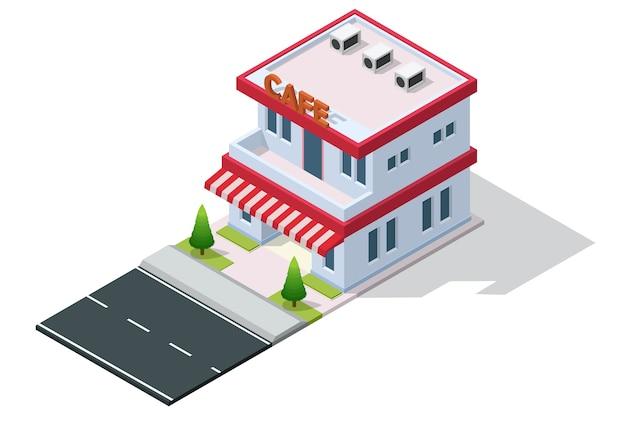 Isométrique D'un Café Ou D'un Café Vecteur Premium