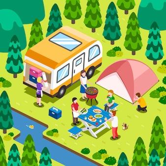 Isométrique - camping dans la nature