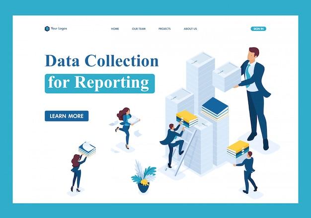 Isométrique collecte de données pour la création de rapports, société d'audit en période d'imposition page de destination