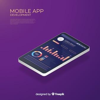 Isométrique en cours d'exécution application mobile infographique