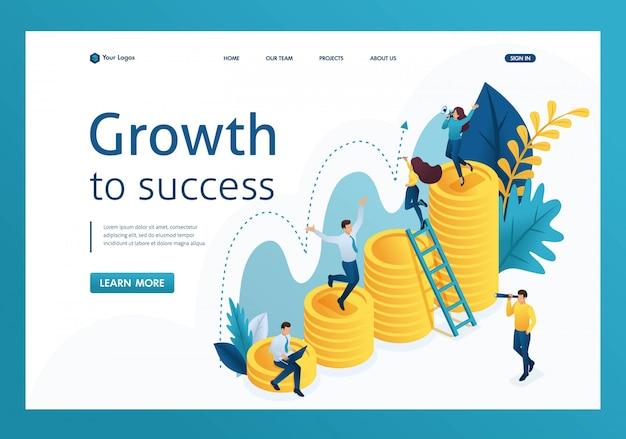 Isométrique de la croissance réussie de l'investissement, de jeunes entrepreneurs explorent la page de destination des indicateurs
