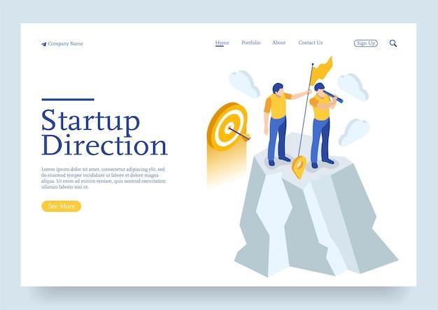 Isométrique définir la direction de l'entreprise de démarrage et rechercher le concept de réseau mondial du client