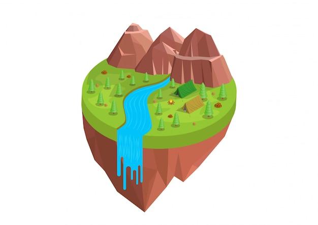 Isométrique du camping autour de la montagne et de la rivière