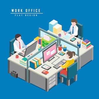 Isométrique du concept de bureau de travail