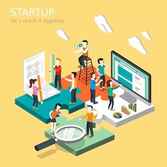 Isométrique du concept de démarrage d'entreprise