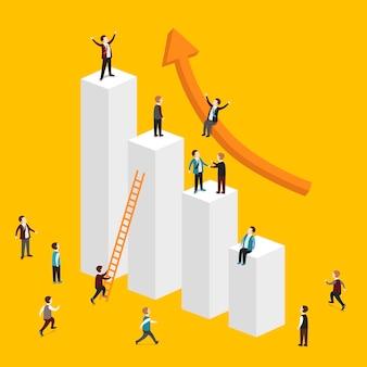 Isométrique du concept d'entreprise en croissance