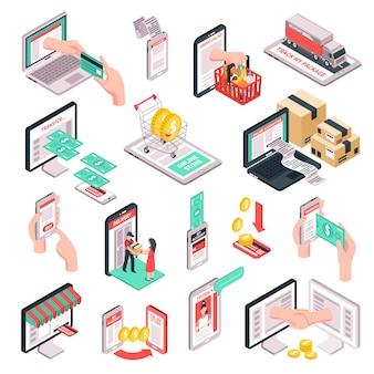 Isométrique E-commerce Shopping Set Vecteur gratuit