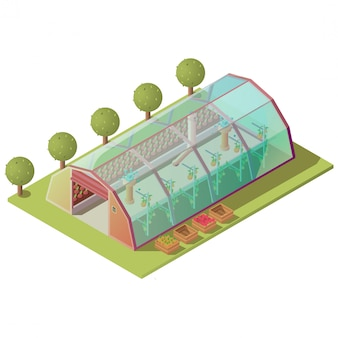 Isométrique à effet de serre, bâtiment de ferme isolé