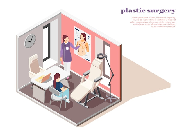 Isométrique avec femme consultant plasticien 3d