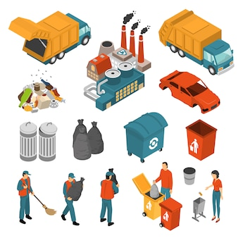 Isométrique garbage recycling icon set
