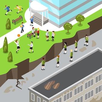 Isométrique heureux prospère vs dysfonctionnel malheureux école sale plat illustration 3d