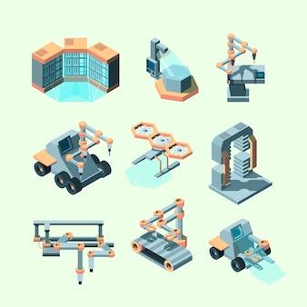 Isométrique de l'industrie. machines intelligentes processus de production de contrôle à distance robotique équipement électronique