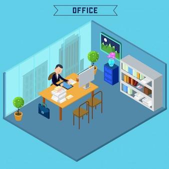 Isométrique intérieur de bureau moderne