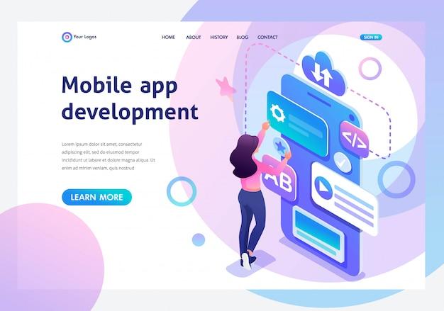 Isométrique jeune fille est engagée dans la création d'une application mobile