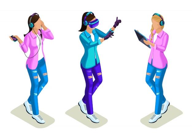 Isométrique jeunes, adolescents, filles cool, génération z, geste de la main utilisant du gaz, jeux virtuels, réseautage social
