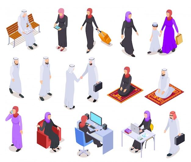 Isométrique musulman. peuple arabe, femme d'affaires saoudienne et homme en vêtements traditionnels. caractères arabes
