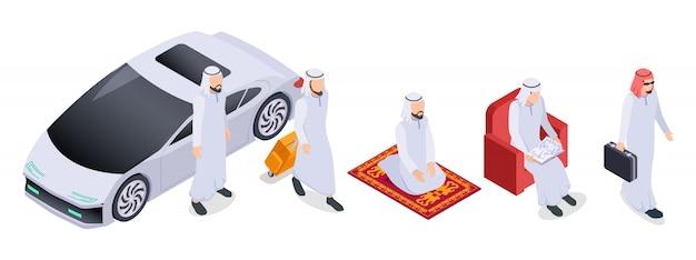 Isométrique musulman. peuple arabe, hommes d'affaires saoudiens en vêtements traditionnels. caractères arabes