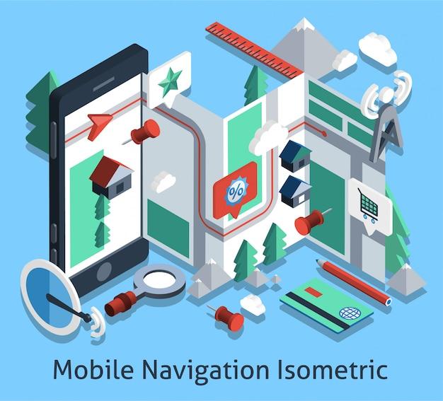 Isométrique de navigation mobile