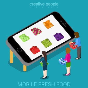 Isométrique plat du marché de l'agriculture fraîche et mobile