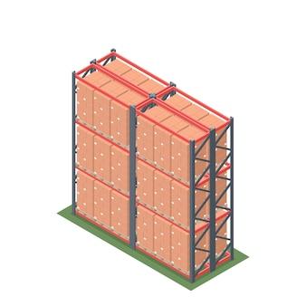 Isométrique de rack d'entrepôt avec palette