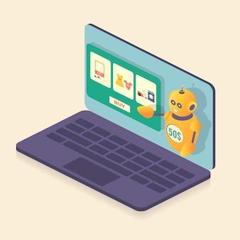 Isométrique, robot, boutique en ligne