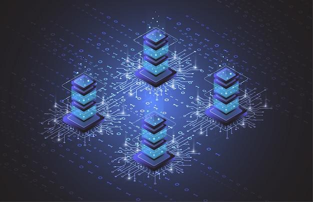 Isométrique de la salle des serveurs, données de stockage dans le cloud, centre de données, traitement de données volumineuses