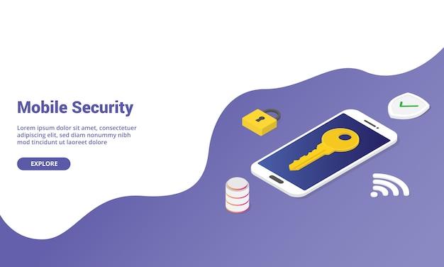 Isométrique de sécurité pour téléphone portable pour un modèle de site web ou une bannière de page d'accueil de destination