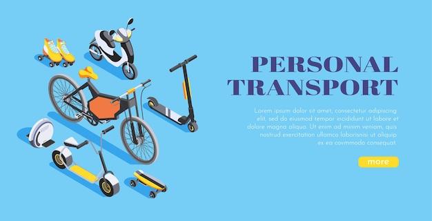 Isométrique transport personnel vélo scooter monocycle skateboard patins à roulettes