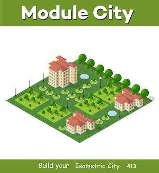 Isométrique de ville 3d moderne
