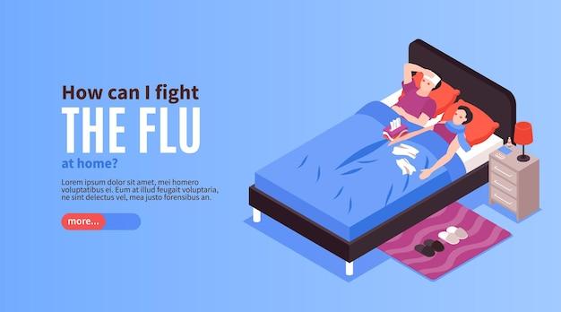 Isométrique virus de la grippe froide page de destination bannière horizontale malade