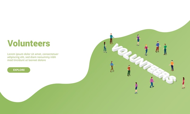 Isométrique de volontaires pour le modèle de site web ou la bannière de page d'accueil de destination
