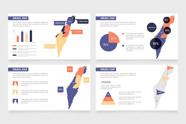 Israël carte infographique au design plat