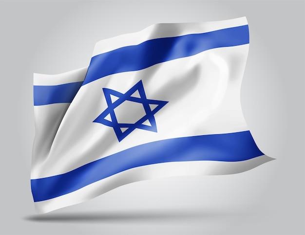 Israël, drapeau vectoriel avec des vagues et des virages ondulant dans le vent sur fond blanc.