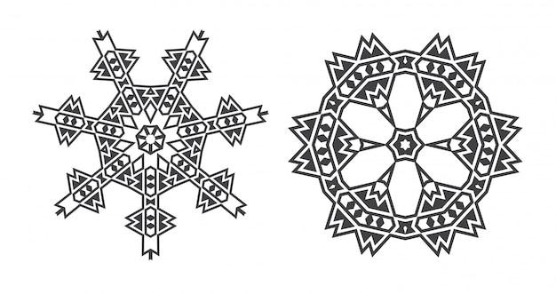 Israël juif mandala fractal ethnique ressemble à un flocon de neige ou un motif aztèque maya ou une fleur