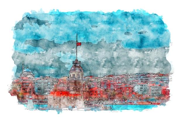 Istanbul maidens tower aquarelle dessin istanbul affiche istanbul impression aquarelle art print