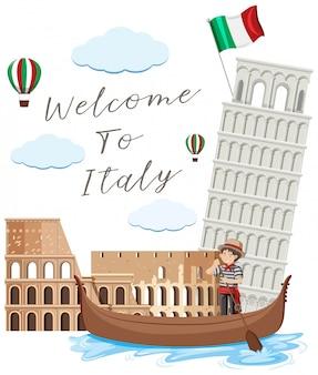 Italie landmark sur fond blanc