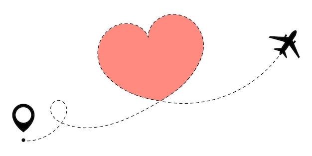 Itinéraire d'avion dessinant le coeur concept d'itinéraire de voyage d'amour à la saint-valentin